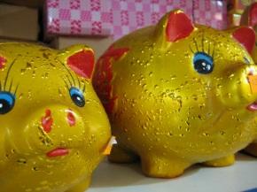 Mooie metafoor voor hoe ik me voelde na het eten een shoppen: een verguld vet varkentje, haha!