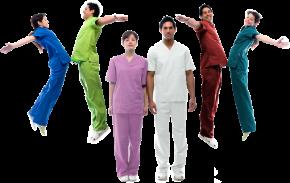artsen in gekleurde kleding